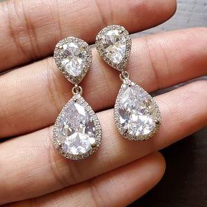 *NEW* Teardrop Earrings Silver and CZ